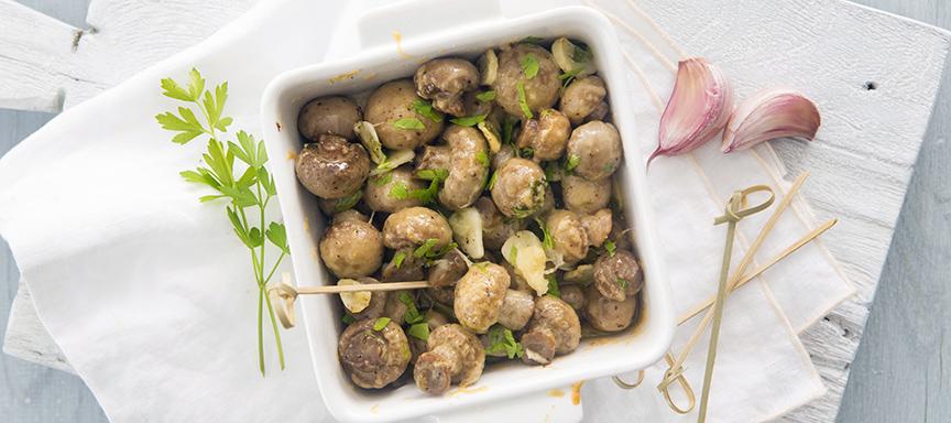 Gegratineerde knoflook champignons