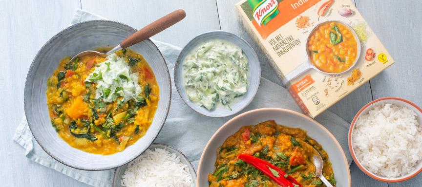 Kookbattle: Knorr vs. eigen recept Indiase Dahl