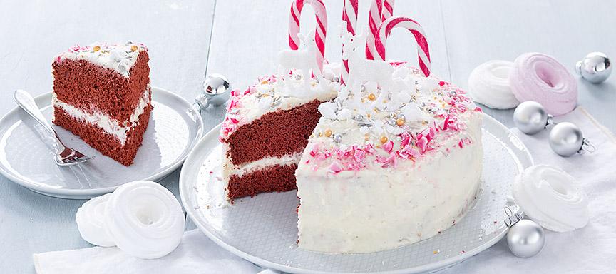 Red velvet taart met candy canes