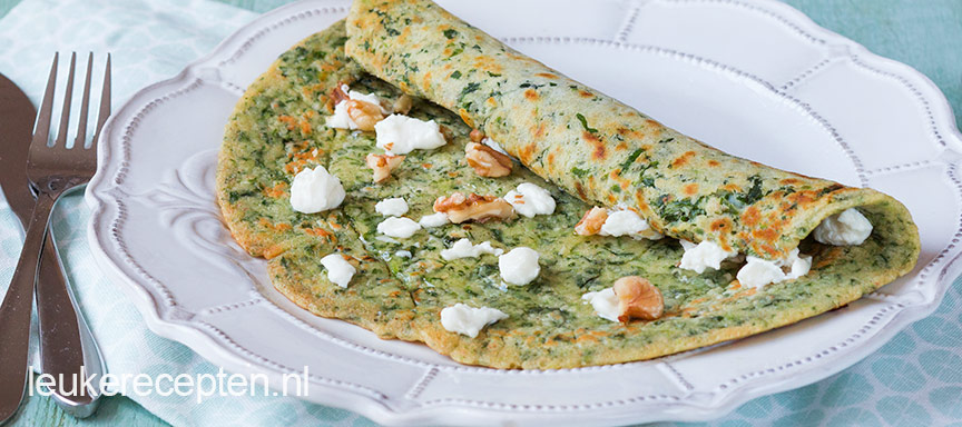 spinazie pannenkoek met geitenkaas www.leukerecepten.nl