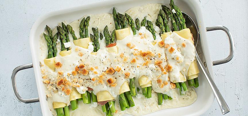 Cannelloni met asperges en geitenkaas
