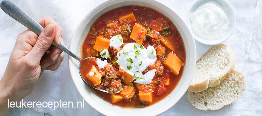 quinoasoep met zoeteaardappel www.leukerecepten.nl