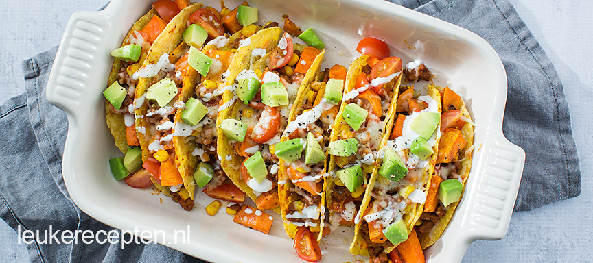tacos met gehakt en zoeteaardappel www.leukerecepten.nl
