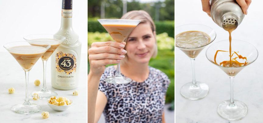 Ijskoude salted caramel cocktail met Licor 43 Orochata
