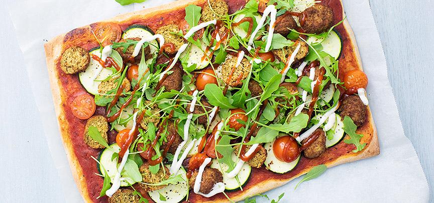 Pizza met falafel