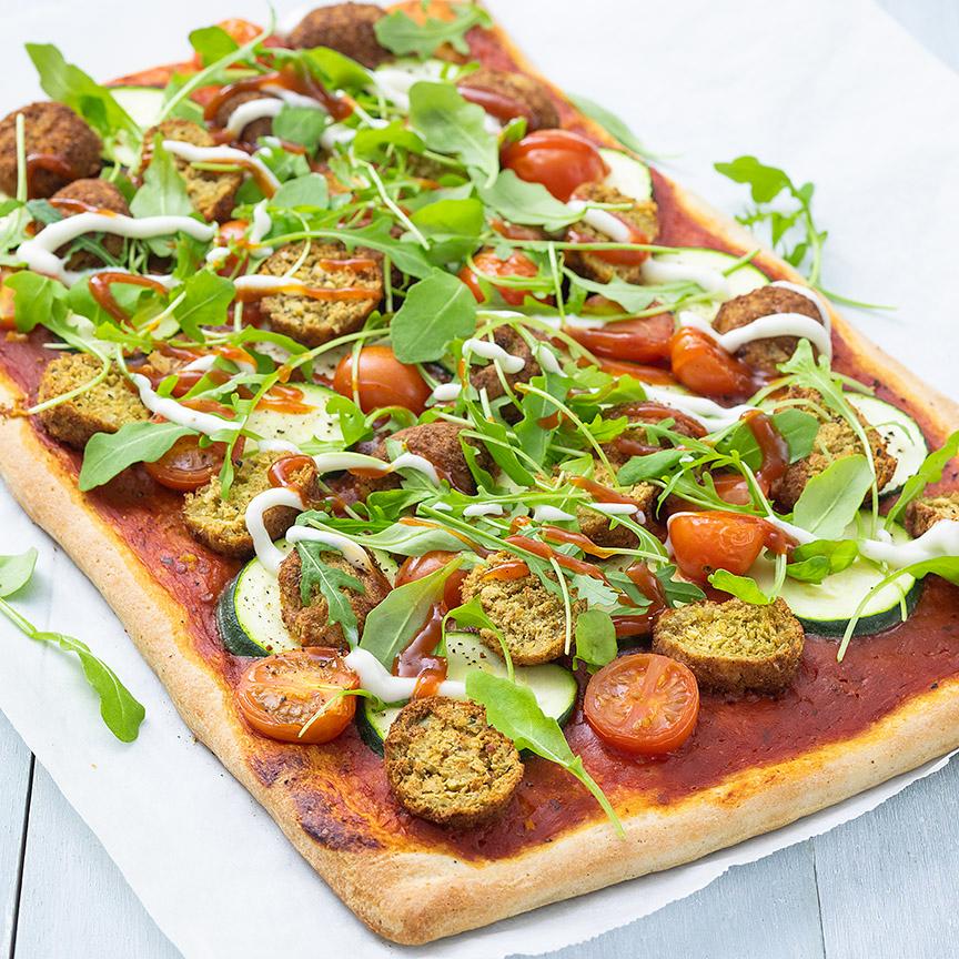 pizza met falafel www.leukerecepten.nl