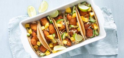 Taco's met krokante vis en mango