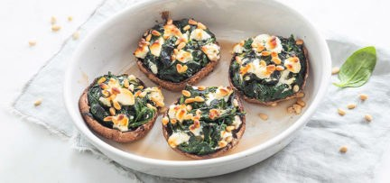 Gevulde portobello's met spinazie