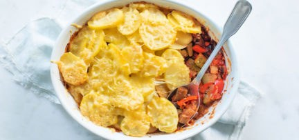 Ratatouille ovenschotel met aardappelschijfjes