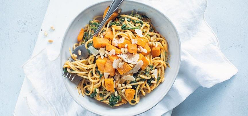 Romige spaghetti met zoete aardappel