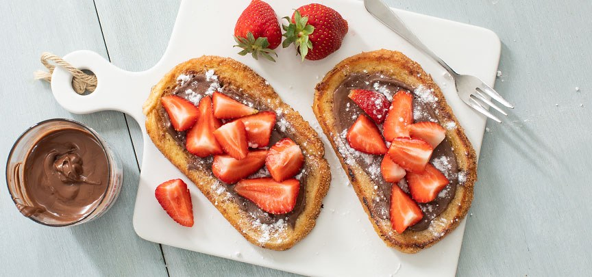 Wentelteefjes met Nutella en aardbeien
