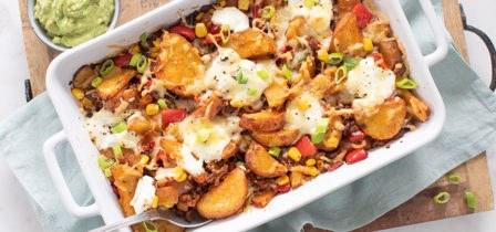 Mexicaanse fajita aardappel schotel uit de oven