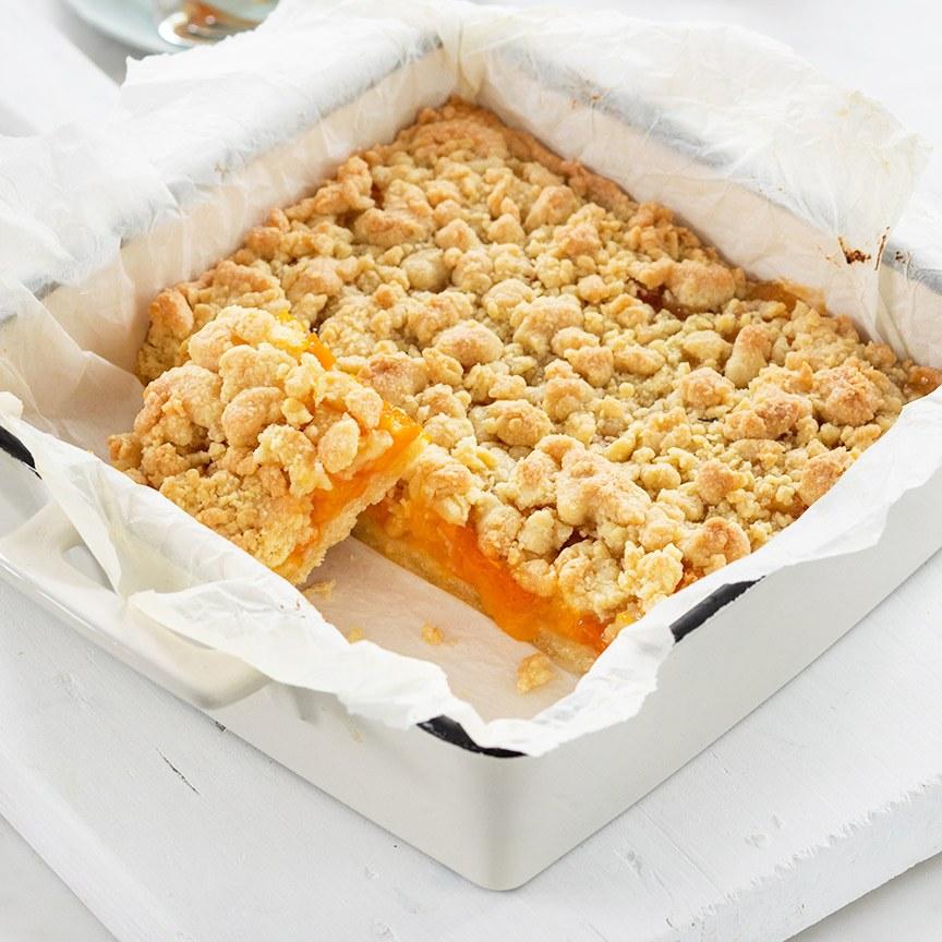 Abrikozen crumble gebak