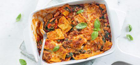 Ravioli ovenschotel met spinazie + variatie-tips!