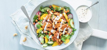 Kip tandoori salade met yoghurt limoen dressing