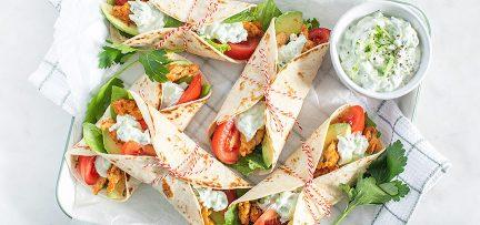 Lunchtip: mini wraps met kip en romige tzatziki