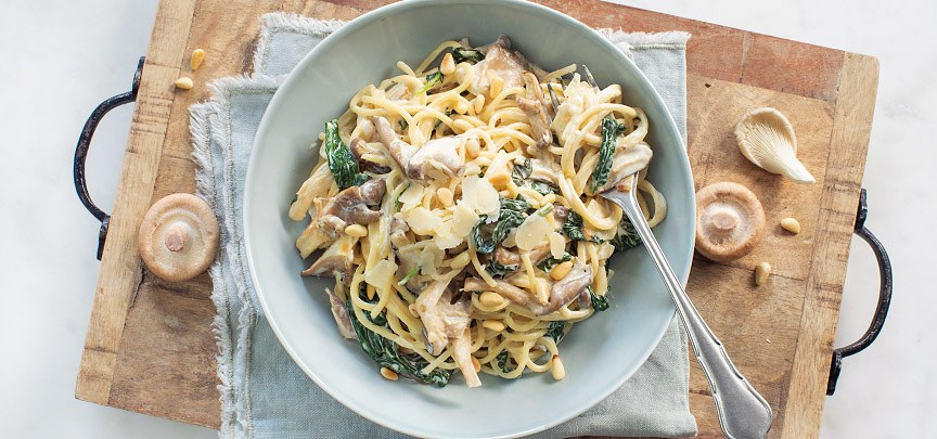 Pasta met paddenstoelen en champignons