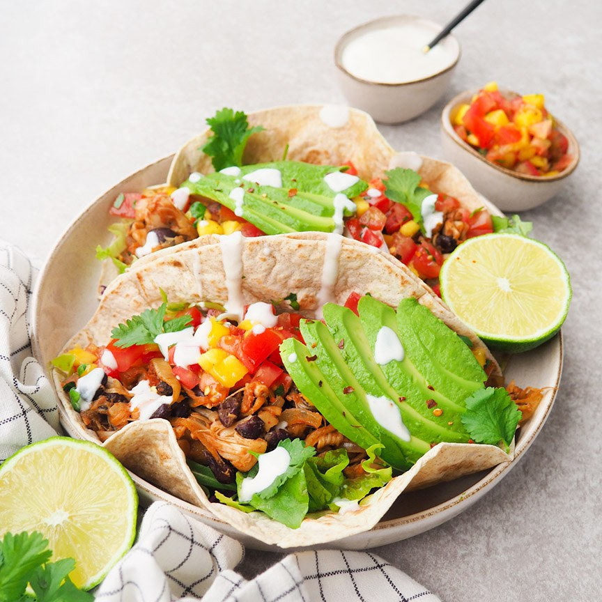 Barbecue pulled jackfruit wraps