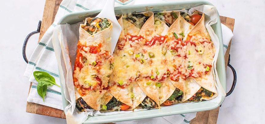 Enchilada's met spinazie uit de oven
