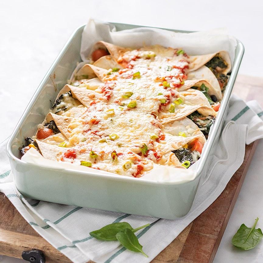 Enchilada's met spinazie
