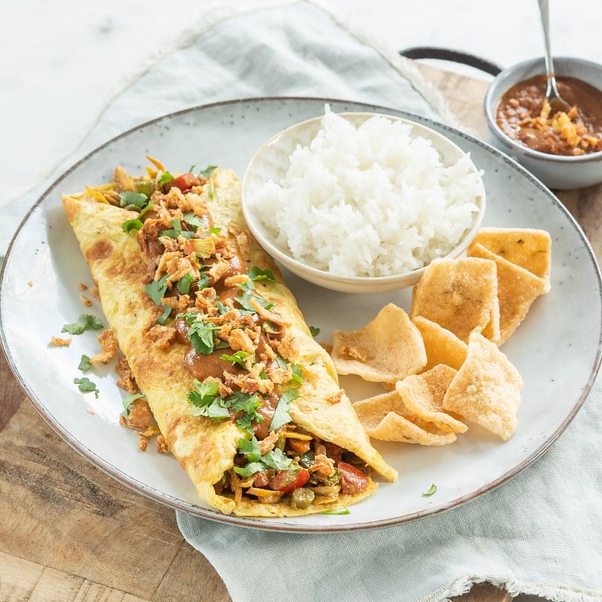 Javaanse omelet wrap