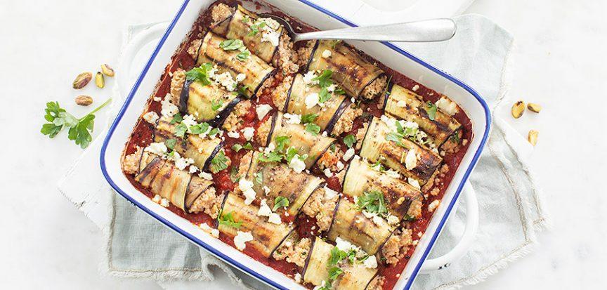 Ovenschotel met aubergine rolletjes en couscous