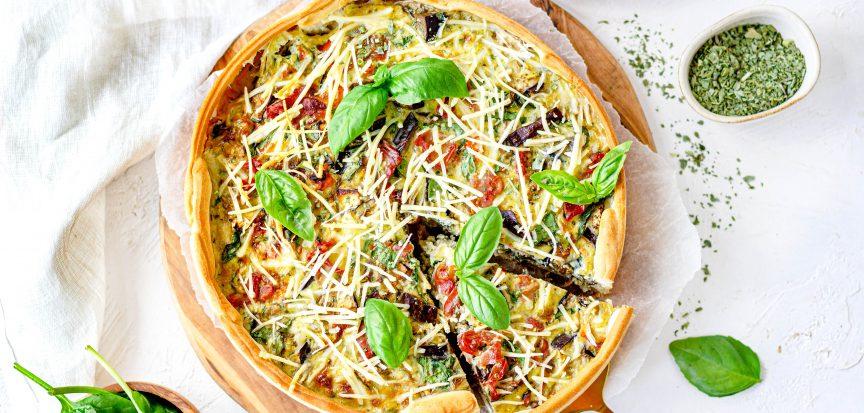 Lactosevrije quiche met aubergine
