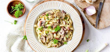 Romige lactosevrije pasta met champignons